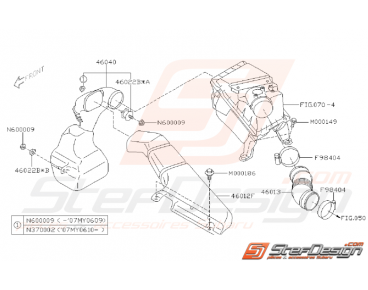 Ensemble Conduit de Boite à Air Subaru WRX STI 2001 - 2007